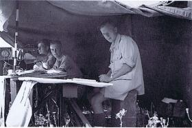 Fox Troop Command Post during a 25 pdr practice shoot, Acre, Palestine, July 1947