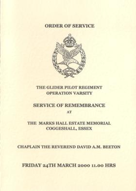 GPR Op Varsity Service of Remembrance Hymn Book, March 2000