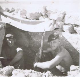 Gdsm Hopwood and McFarlane rest at the Famagusta Training area, Cyprus prior to Suez, 1956
