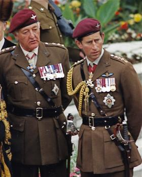 Gen Sir Geoffrey Howlett stands with HRH Prince of Wales during PARA 90 celebrations, 1990