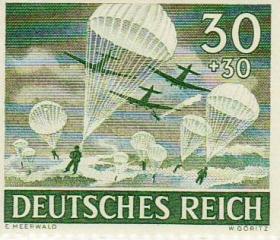 Third Reich Stamp depicting German Airborne Forces, 1943