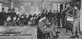 Glider Pilots from B Squadron receive a briefing, 1945