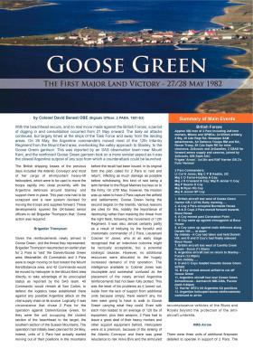 Goose Green – The First Major Land Victory co-edited by Colonel David Benest.
