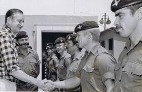 Governor Sir Murray Macclehose meets men from C Coy 1 PARA, Hong Kong, 1980