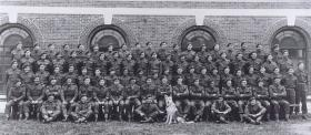 Group photo of A Coy, 9 Parachute Battalion with Para Dog, Bulford, 1944.