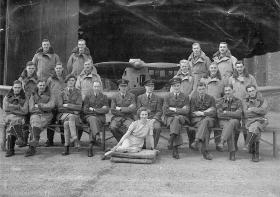 Group photograph of B Flight on training course at 16 EFTS RAF Burnaston, 1942