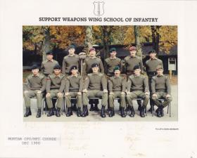 Group photo of Mortar CPO/MFC Course at Support Weapons Wing School of Infantry, December 1988