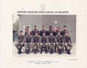 Group photo of Mortar Platoon Commanders and 2ICs Course, Support Weapons Wing School of Infantry, June 1992