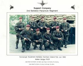 Group photograph of a platoon of Support Coy, 2 PARA, Fermanagh, June 1990