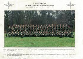 Group photograph of Support Coy, 2 Para, Tern Hill, Dec 1988