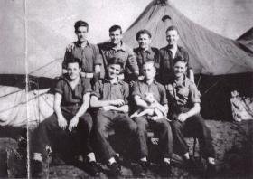 Group photo of men from 716 Lt Comp Coy RASC, Gaza Ridge Camp, Palestine