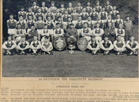 Group photograph of 1st Battalion, Parachute Regiment Athletics Team, 1957