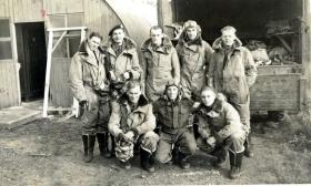 Group photograph of Glider Pilots, including pilots of the Double Hills crash