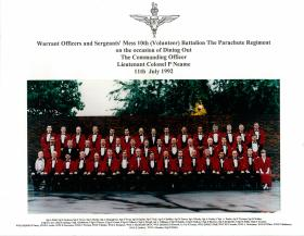Group photograph of Sergeants' Mess, 10 PARA, July 1992