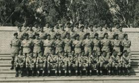 Group photograph of Support Company, 2 PARA, Moascar Stadium, Egypt, 1954.