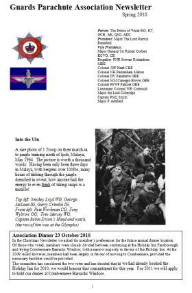 Guards Para Association Newsletter Spring 2010