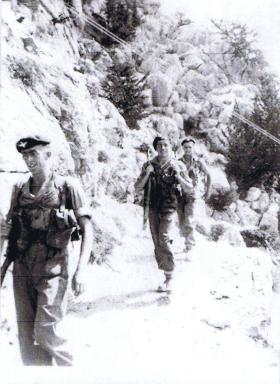 Guards Para Coy patrol in the Kyrenia Mountains, Cyprus, 1956