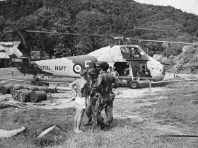 Guards Para Patrol returns for rest from 845 Sqn RN Helicopter at Sibu Sarawak, Borneo, 1964