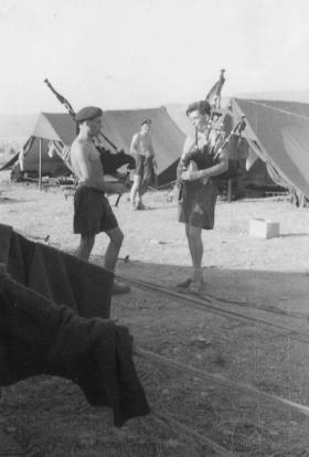 Guards Para Pipers on camp, Volous, Greece, 1962