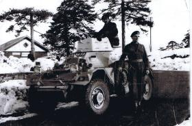 Guards Para Coy soldiers with the company Ferret scout car, Cyprus, 1956.