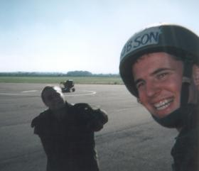 Two very happy members of 16 Detachment, 4 PARA after their first Parachute descent.