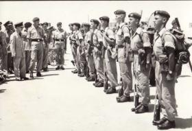 HM King Hussein of Jordan inspects a section of B Coy, 2 Para