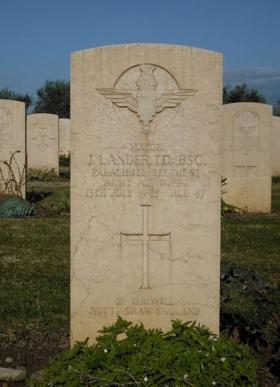 Headstone of John Lander at Catania War Cemetery, Sicily
