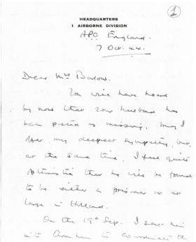 Letter of condolence to widow of Col HN Barlow from Maj-Gen Urquhart, 7th October 1944