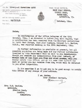 Letter confirming Col HN Barlow missing in action, 19 October 1944