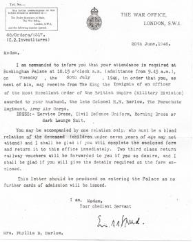 Letter invitation to receive the OBE on behalf of the late Colonel HN Barlow, June 1946