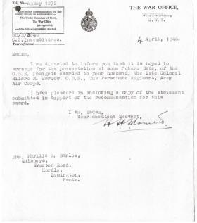 Letter informing of the intention to present the OBE Insignia to Col HN Barlow, April 1946