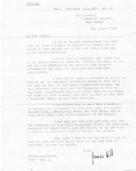 Letter from Brig Hill to Lt Col Barlow regarding move from 7th Parachute Battalion to 1st Airlanding Bde, Aug 1943