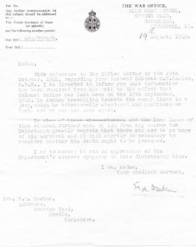 Official letter informing family that Col HN Barlow's death should be presumed, August 1945