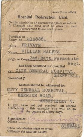 Hospital card for Pte William Ralphs, 1940s