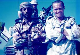 Greg Allen with a mate, 1 PARA Oman, 1999.