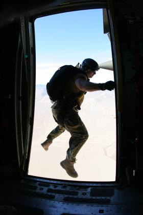 Pathfinder performing a 'frog' exit from the side door of a C130