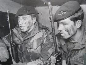 Two armed paratroopers on vehicle patrol, Northern Ireland, undated.