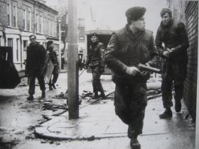 An urban riot scene involving 1 PARA.