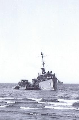 Immigrant ship after running aground nr Haifa during Op Bobcat, Palestine