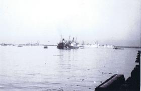 Immigrant ship being escorted to Haifa port during Op Bobcat, Palestine