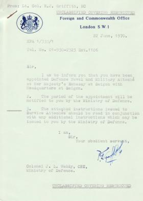 John Waddy - Letter of appointment to Saigon