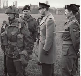 King George VI inspecting 4 Para Brigade, March 1944, Somerby Leics
