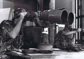L/Cpl Brian Taylor, 1 PARA, at an Observation Post on the Hong Kong border, 1980