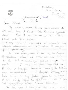 Letter to widow of Col HN Barlow from John Waddy returning cigarette case, Nov 1954