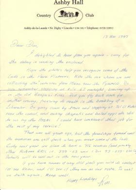 Letter to Donald Hicks from 716 (Airborne) Lt Coy RASC Association secretary(?), 1997