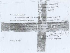 Letter from Maj Digby Tatham-Warter to Mrs Baverstock, October 1944.