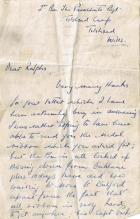 Letter to Pte Ralphs from Lt John Monsell, c.1945-6.