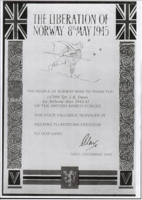 Liberation of Norway certificate awarded to men who took part in Operation Doomsday