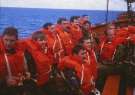 Lifeboat drill for 2 PARA on Norland