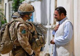Local man greets soldiers of 3 PARA in Kandahar City, June 2008